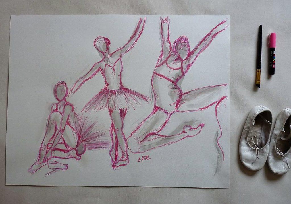 danse saut dessin danseuse esquisse elize pigmentropie elize tutu classique