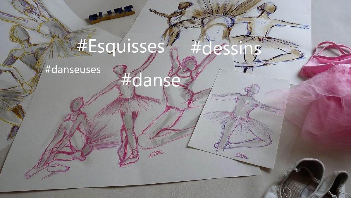 9 dessins sur le thème de la danse