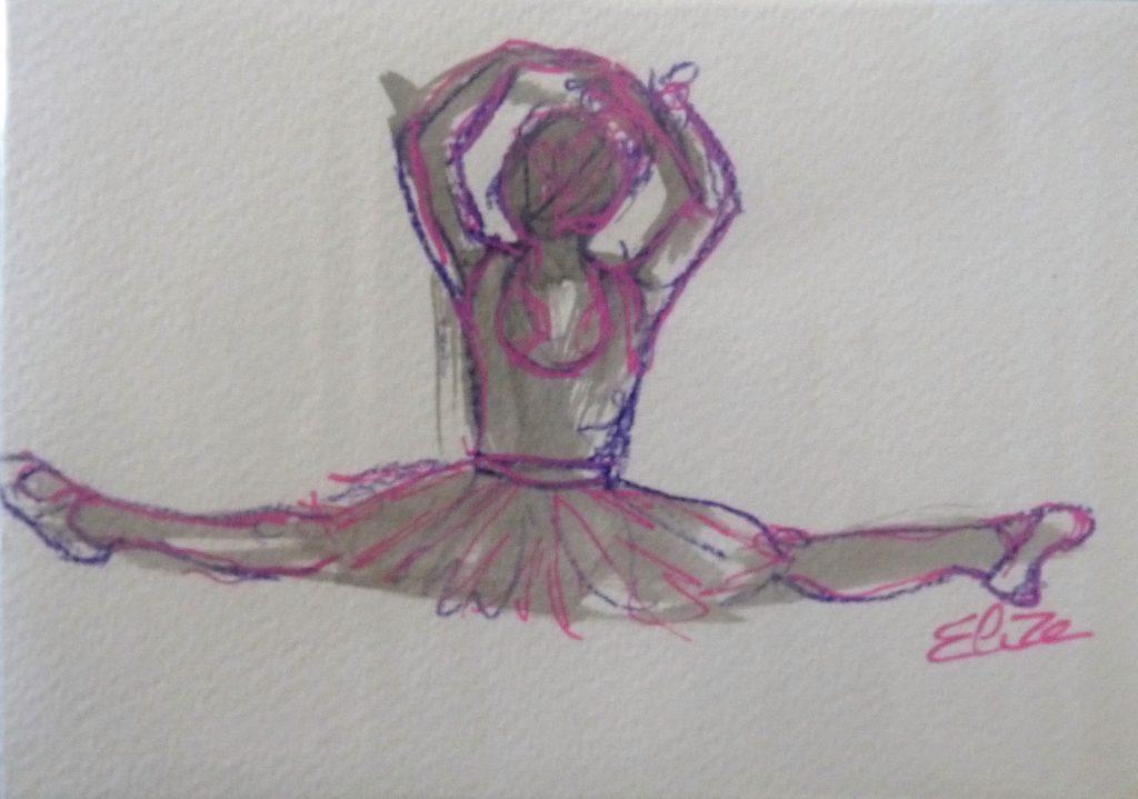 danse grand ecart dessin danseuse esquisse elize pigmentropie elize tutu classique