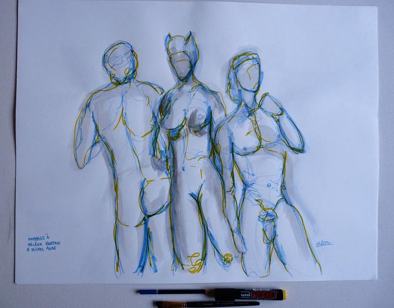 dessin sculptures helene berteaux Michel Ange