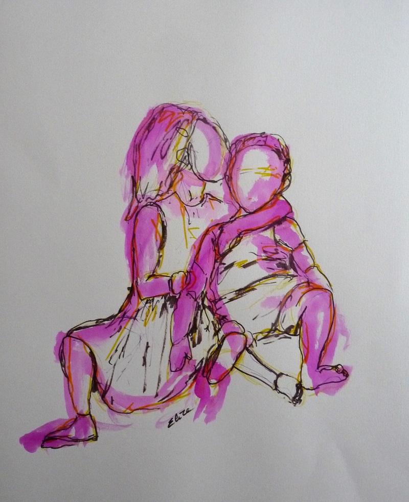 esquisse enfant frere soeur rose elize pigmentropie