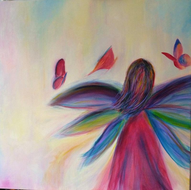 fee papillon rose pastel peinture elize pigmentropie