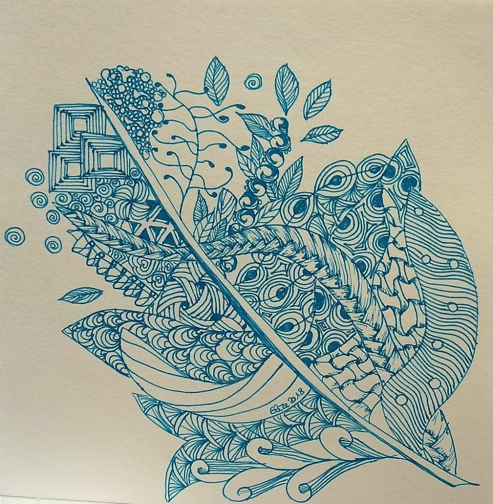 zentangle feuille bleu trait dessin vegetal bleu