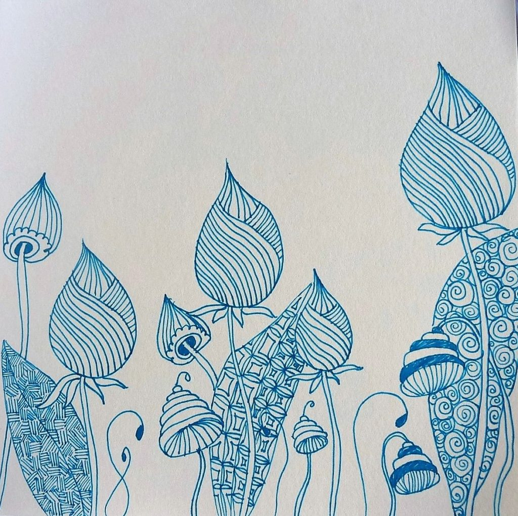 zentangle fleur bleu trait dessin vegetal bleu