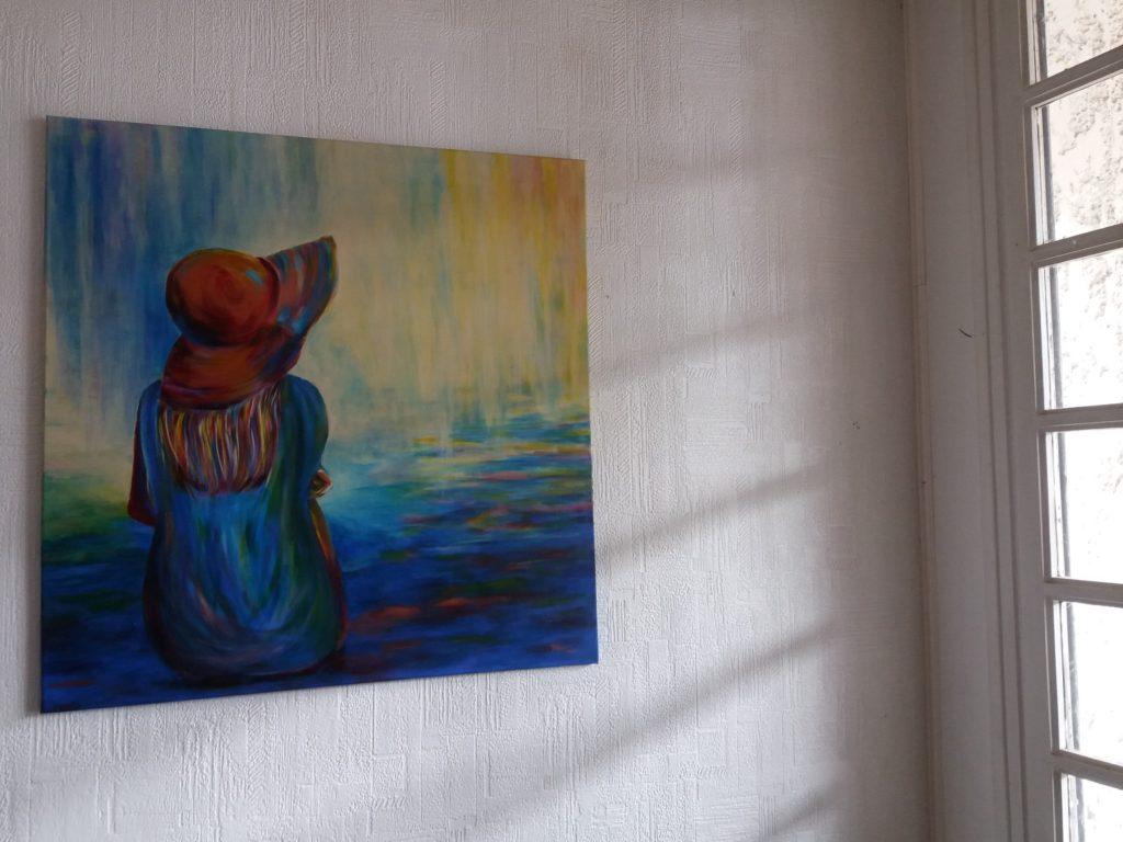 tableau Elize sans cadre fenetre femme chapeau peinture