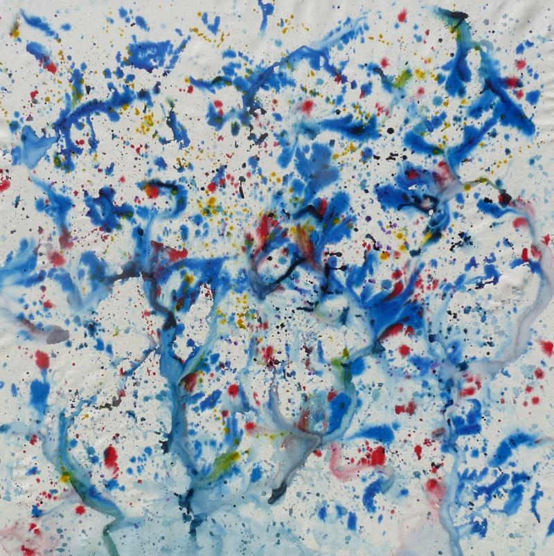 tableau projection peinture bleu encore rouge blanc