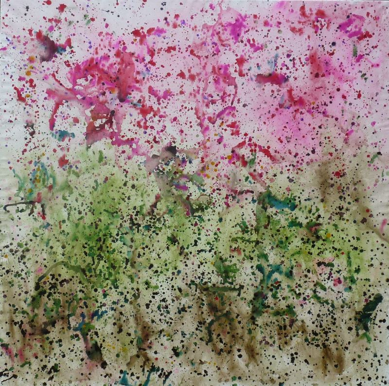 tableau vegetation printemps jet peinture gouttes projection action painting pollock