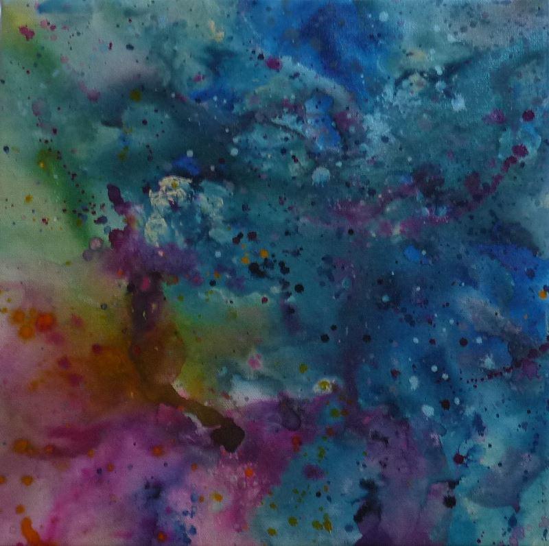 tableau pastel rose violet bleu elize gouttes giclure dropping action painting