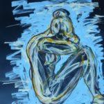 Aristide Maillol sculpteur esquisse sur fond noir bleu elize femme recroquevillée