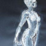 Aristide Maillol sculpteur esquisse sur fond noir blanc elize femme debout