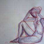 dessin Aristide Maillol sculpteur esquisse elize femme assise trait modele