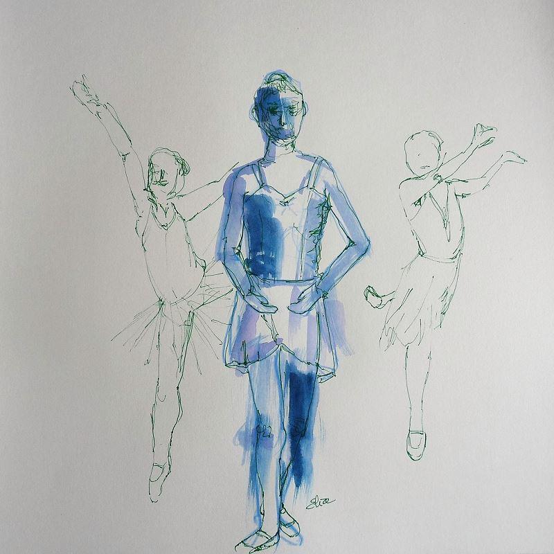 elize dessin esquisse fillette danseuse premiere position pigmentropie bleu vert