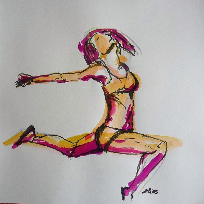 dessin elize saut danseuse jaune rose