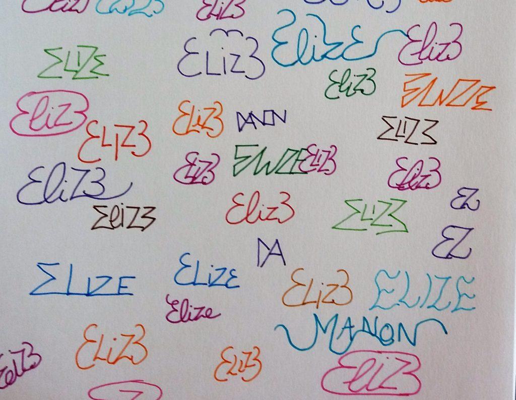 elize signature essai tag papier