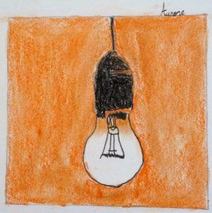 ampoule dessin enfant orange noir pop art