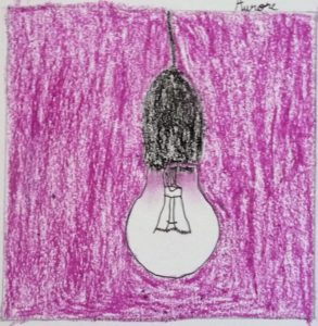 ampoule dessin enfant violet pop art