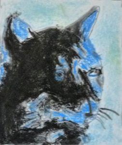 chat bleu pop art noir