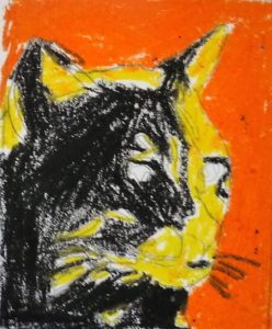 chat rouge jaune noir pop art