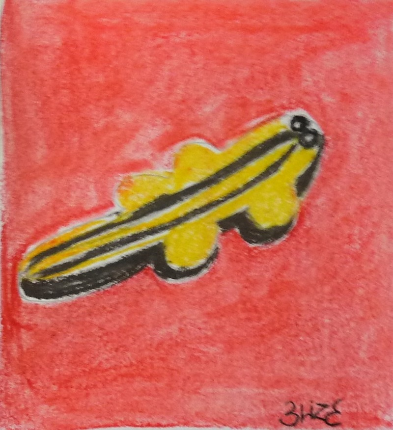 crocodile dessin rouge jaune pop art