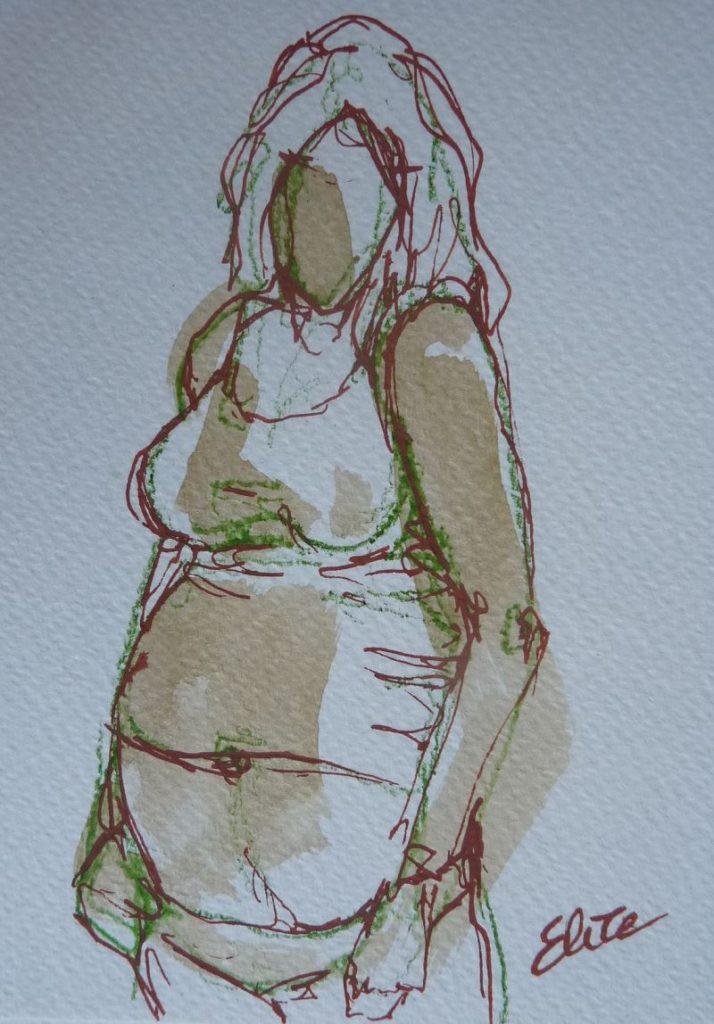 femme enceinte en t-shirt maternité grossesse dessin elize pigmentropie