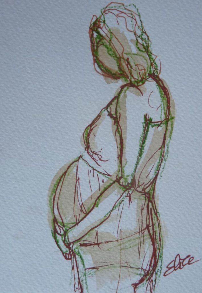 femme enceinte tenant son ventre esquisse elize dessin pigmentropie