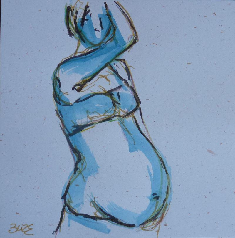 femme enceinte encre bleu esquisse elize dessin