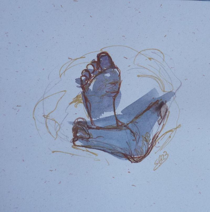 esquisse elize dessin gris pieds petons bebe