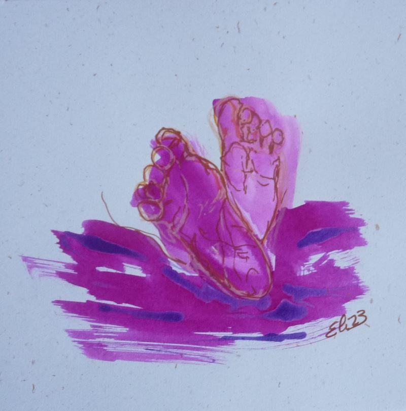 peton pied bébé esquisse elize dessin rose violet