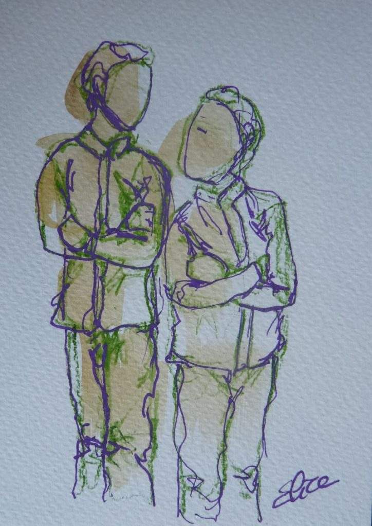 deux garcons frères bras croisés dessin trait vert violet elize esquisse
