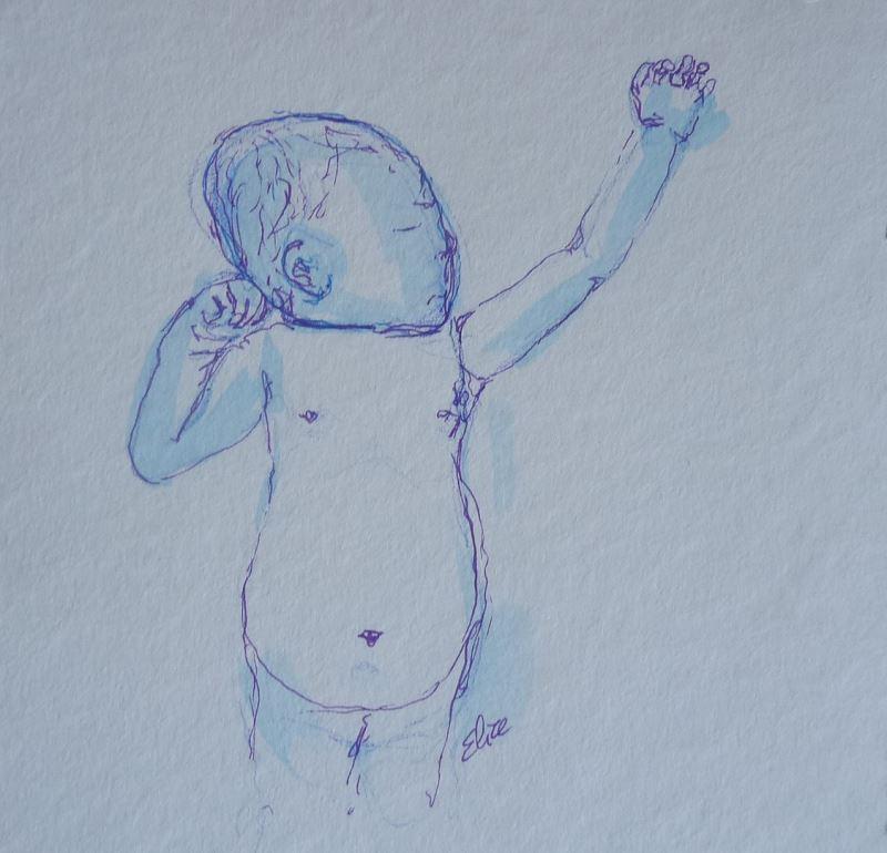 bebe dessin elize pigmentropie dormir poing levé
