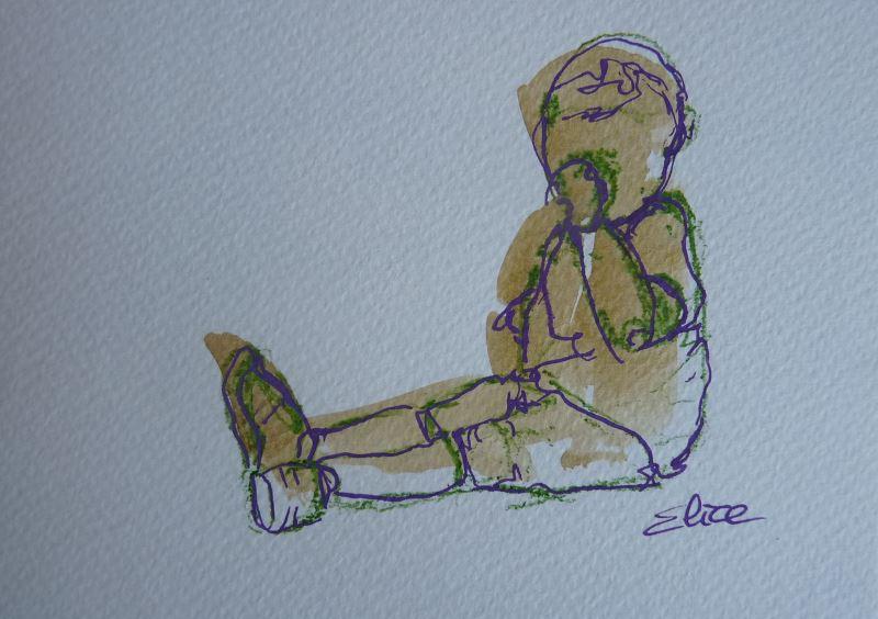 enfant sucant son pouce esquisse elize dessin marron