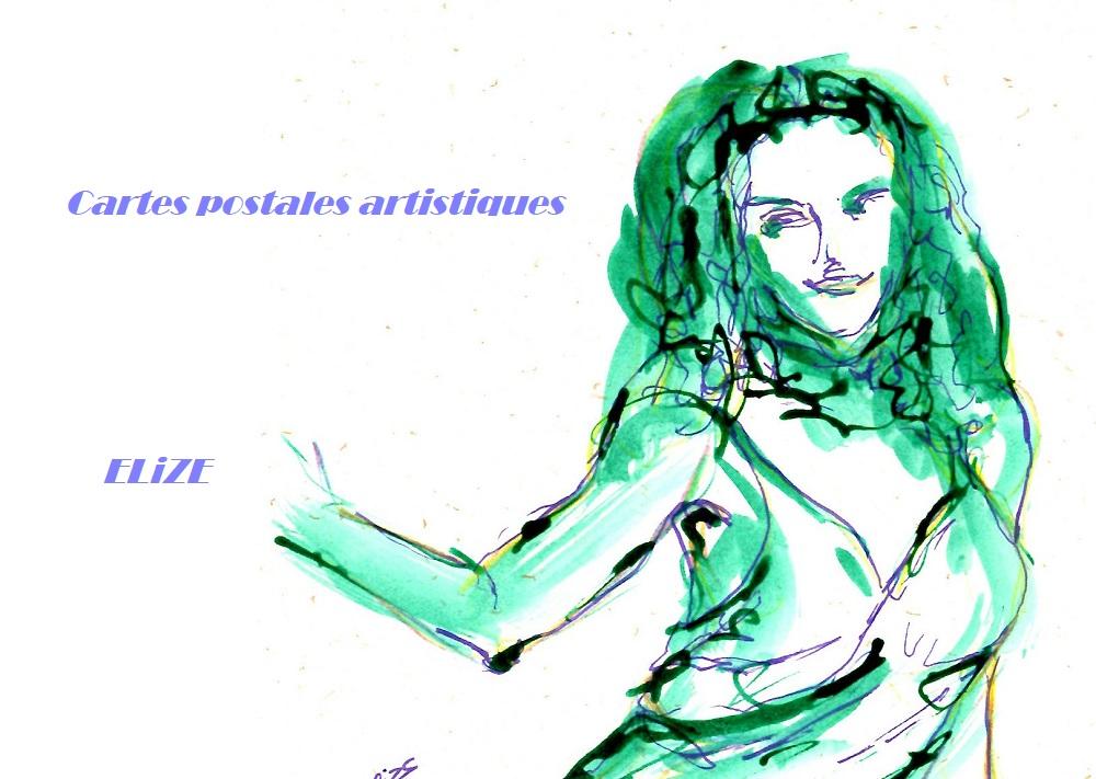 7 cartes postales artistiques sur le thème de la danse et du mariage