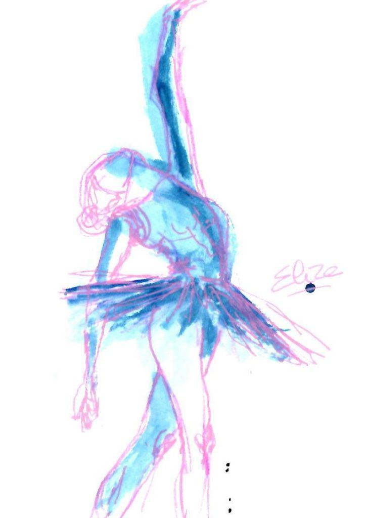 tutu danse elize dessin esquisse encre bleu aquarelle