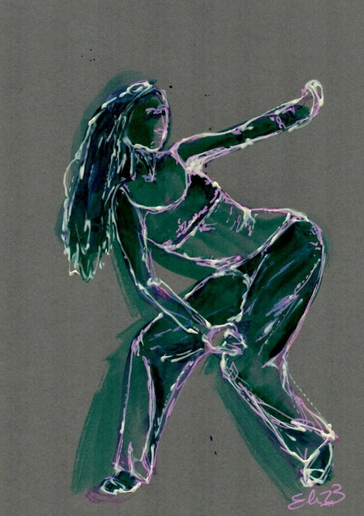 esquisse elize dessin danse penchee fond gris