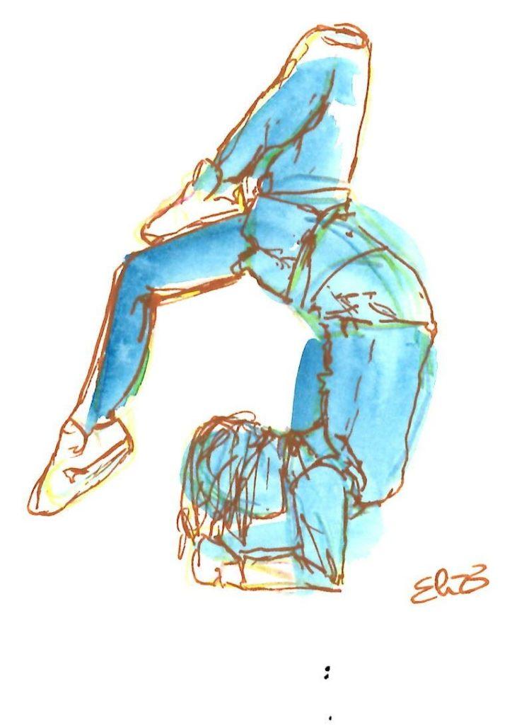 elize dessin esquisse danseuse tete en base bleu aquarelle