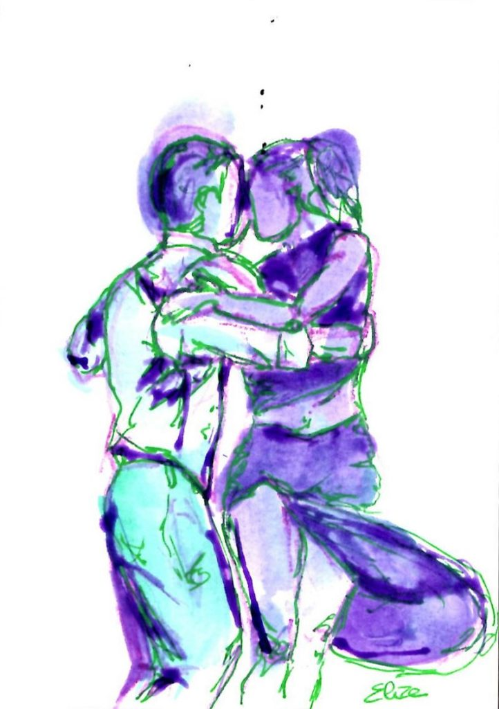 elize dessin esquisse danseur danse tango robe violet vert homme femme elize