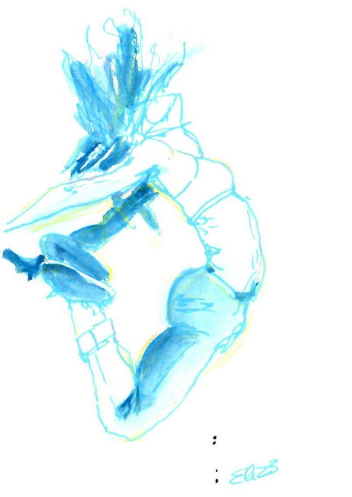 dessin elize sauter se lacher cheveux aquarelle encre crayon femme