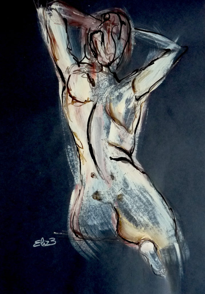 dessin nue femme dos esquisse Elize pigmentropie