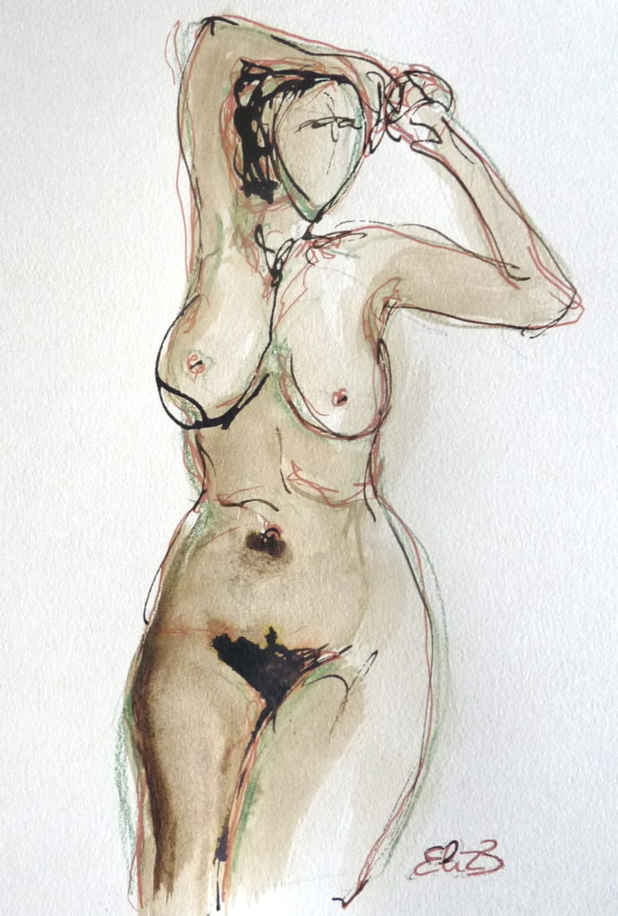 femme nu dessin marron Elize pigmentropie