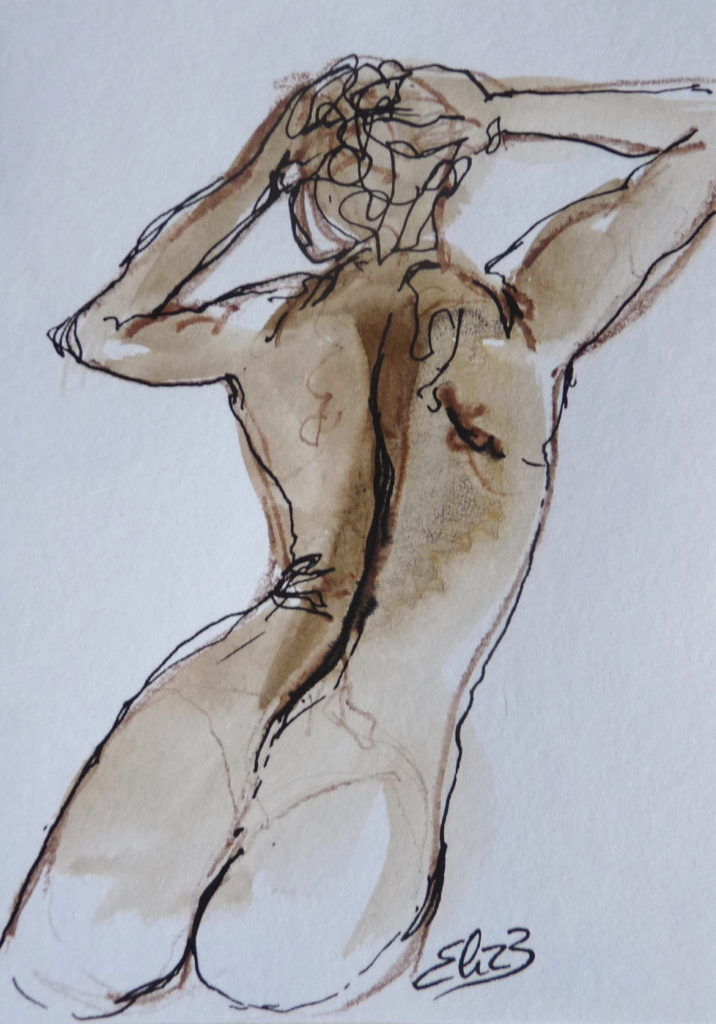 dessin femme nue de dos Elize esquisse Woman Brown