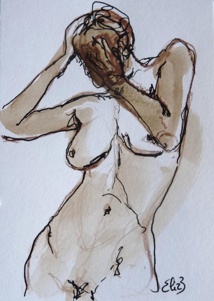 femme nue Elize pigmentropie visage cache marron