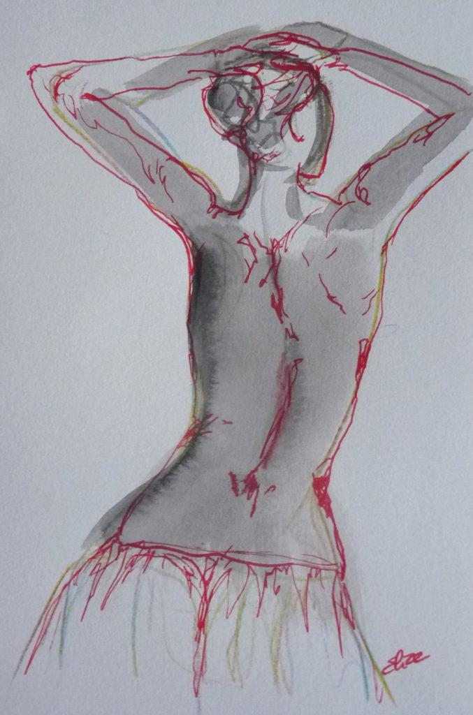 esquisse femme nu dos danse bras levés Elize pigmentropie