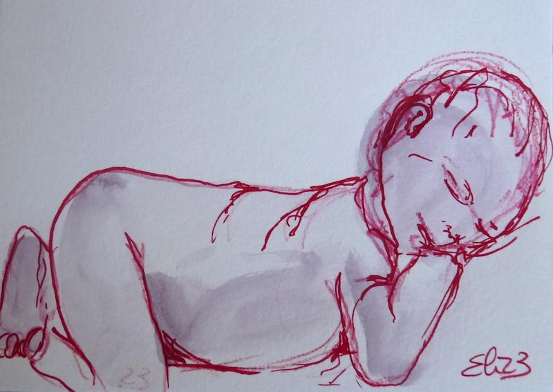 Dessin esquisse Elize bebe dormant sur le ventre au trait rouge crayon