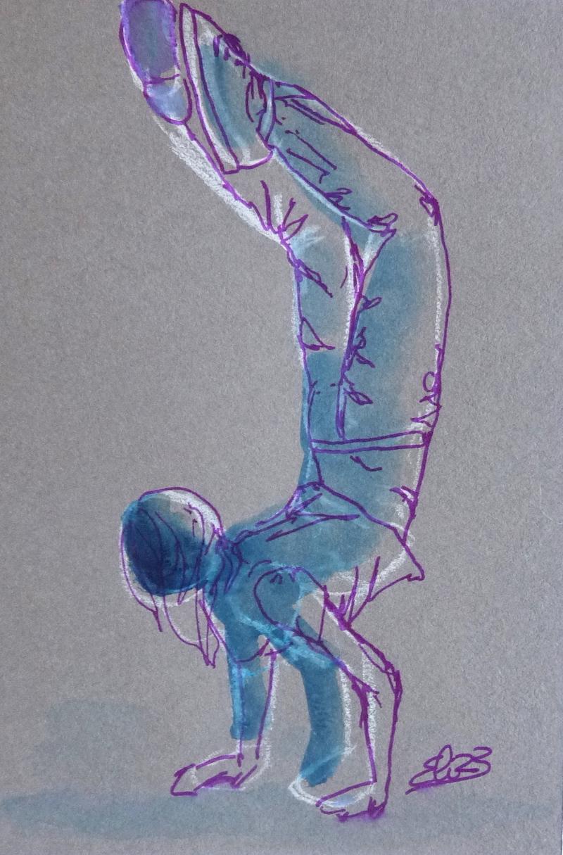 Elize dessin esquisse femme équilibre danse trait violet