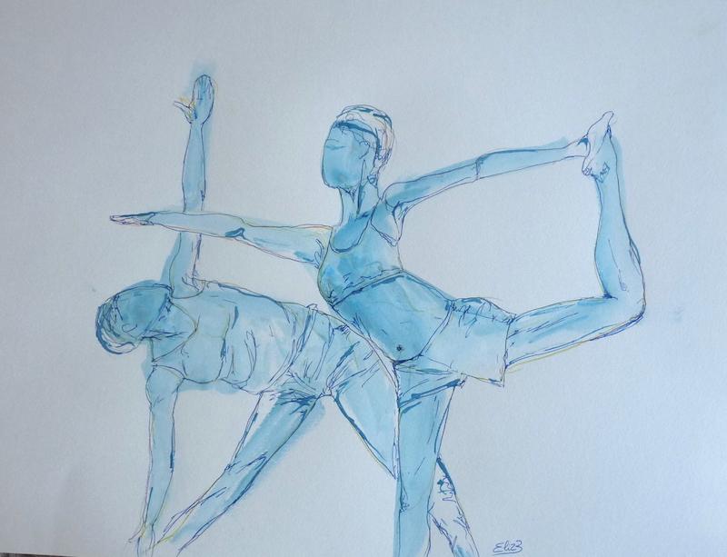 dessin yoga posture triangle encre bleu trait Elize pigmentropie