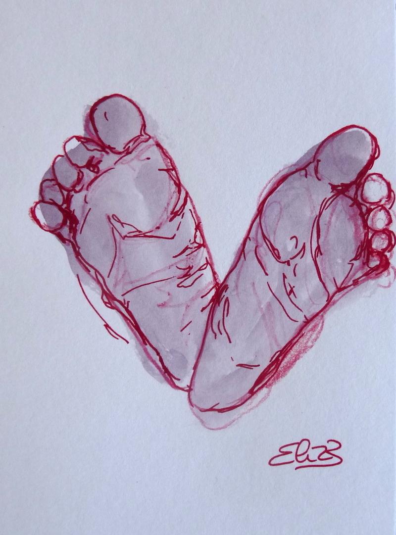 dessin de pieds de bebe - peton par Elize, encre grise, trait rouge
