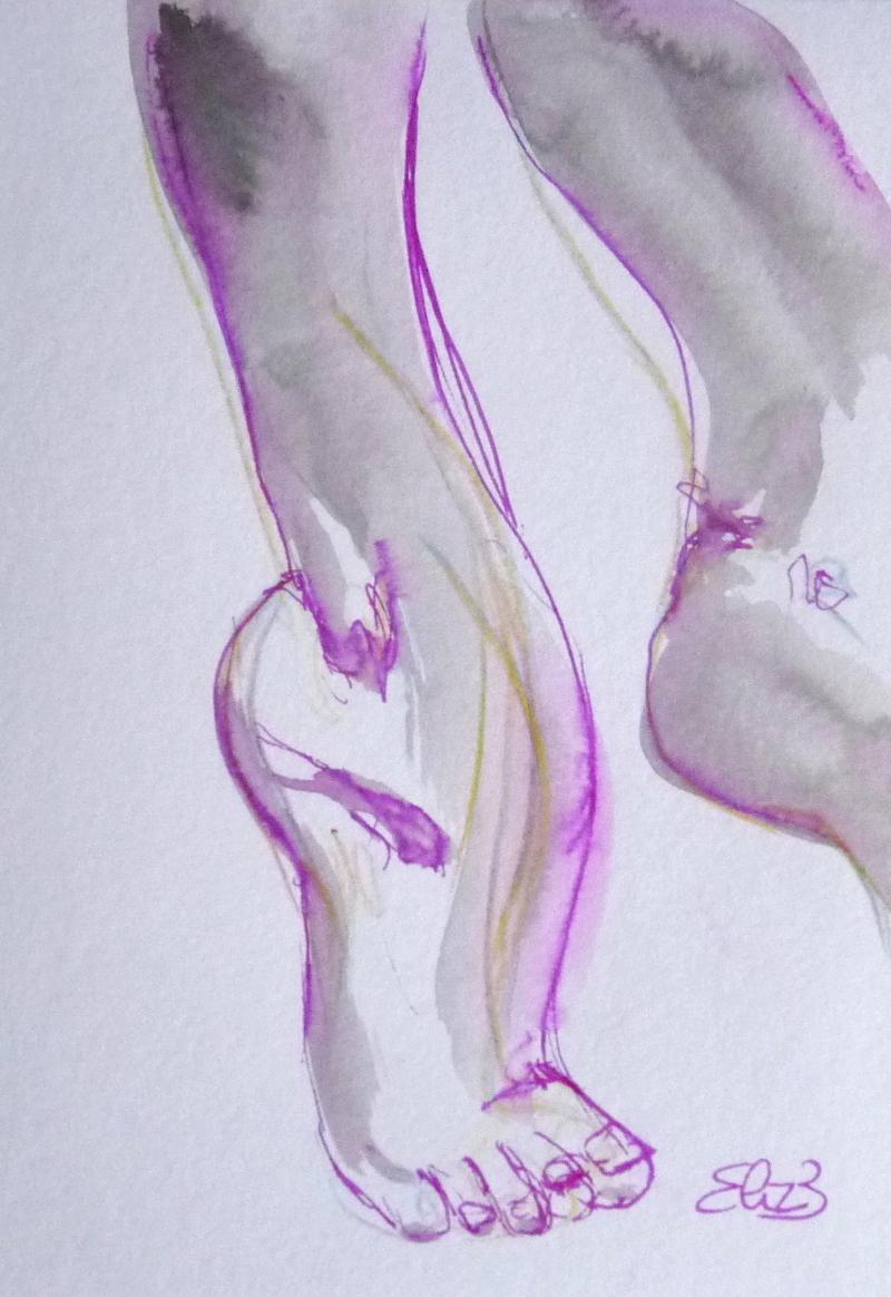 dessin de pieds de danseuse cheville par Elize, encre grise, trait violet