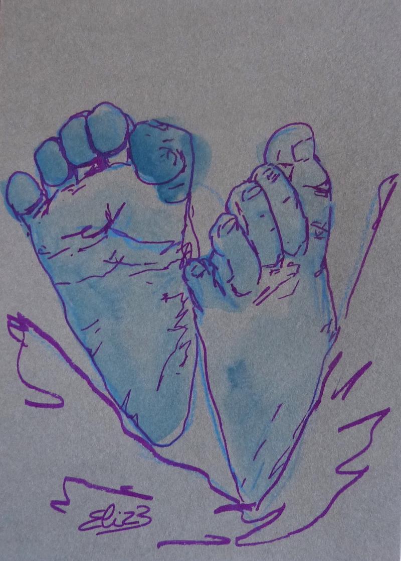 dessin de pieds de bebe - peton par Elize, encre bleue, trait violet, fond gris