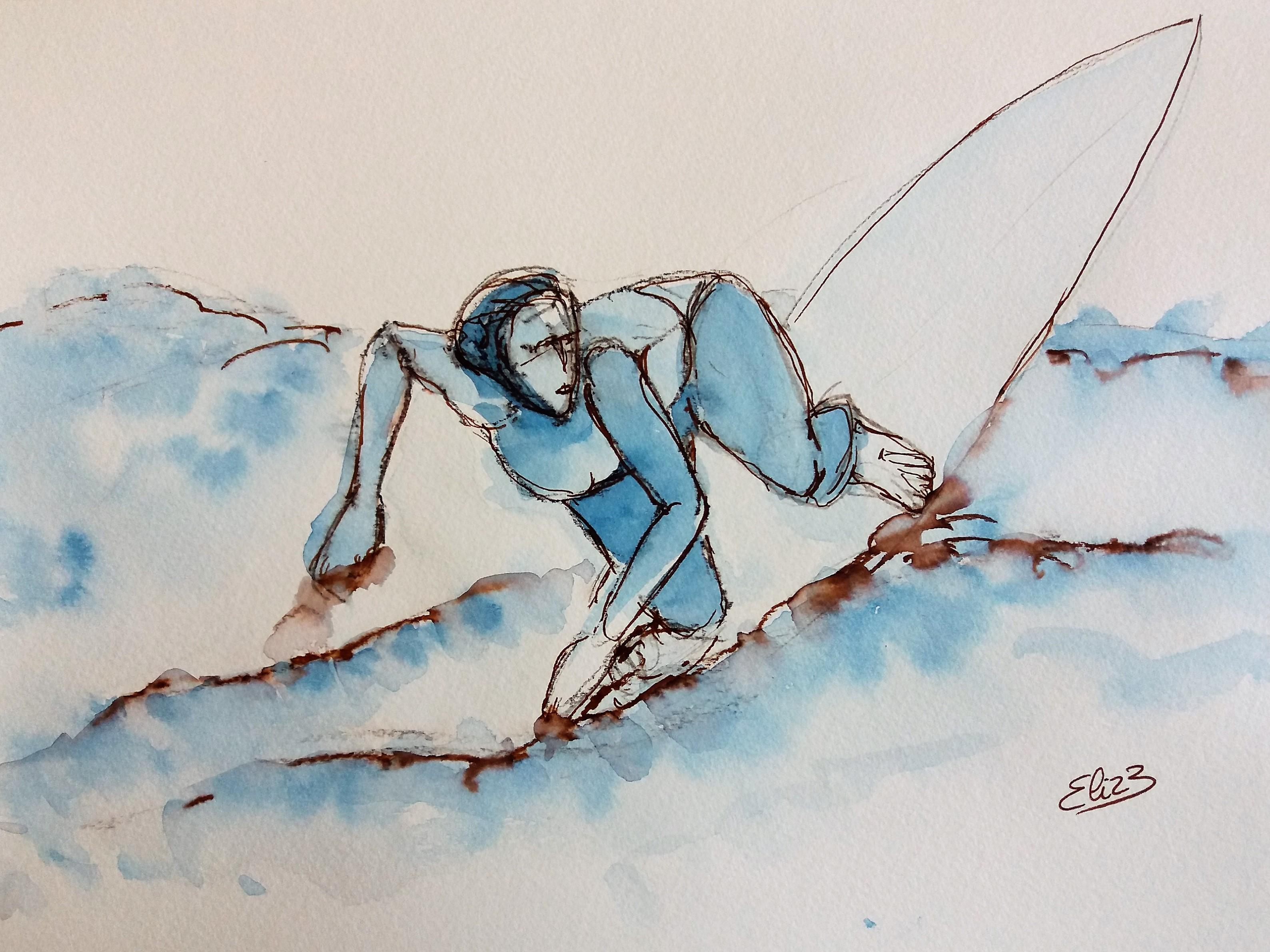 surfer sur la vague rouleau surfeuse sur la plage, dessin esquisse par elize pour pigmentropie encre bleu et trait marron