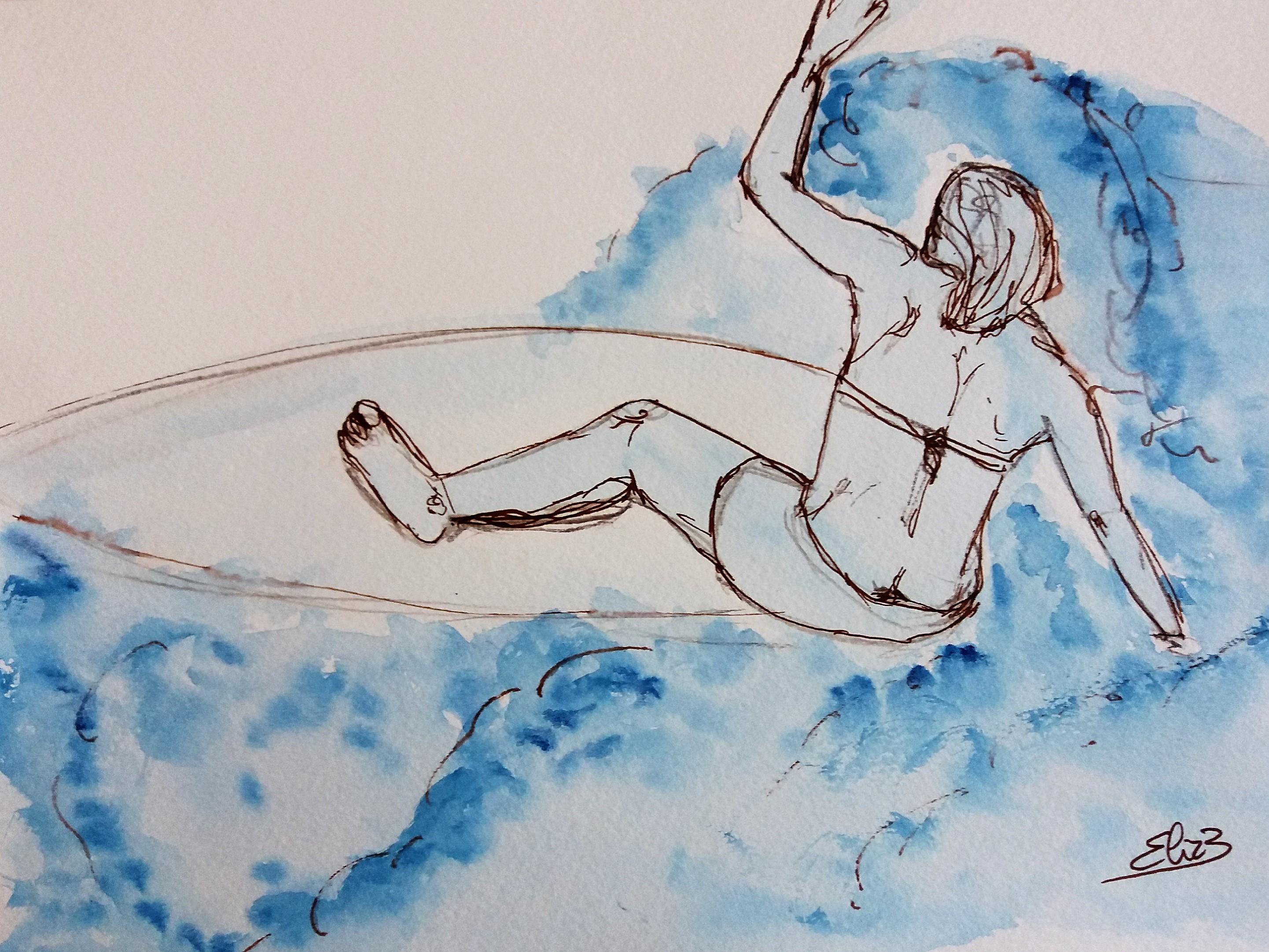 surfer sur la vague, surfeuse sur la plage, dessin esquisse par elize pour pigmentropie encre bleu et trait marron tomber rouleau